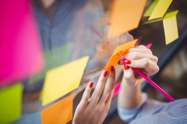 Businesswoman writing on sticky notes stuck to glass stock photo