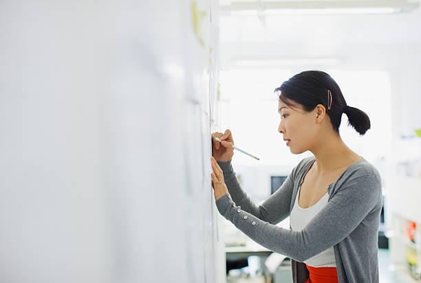 Empresária escrevendo no quadro branco - foto de acervo