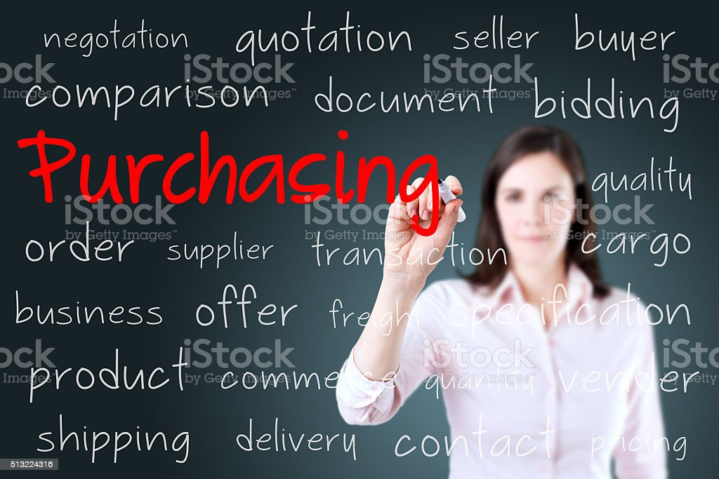 Businesswoman writing purchasing concept. stock photo