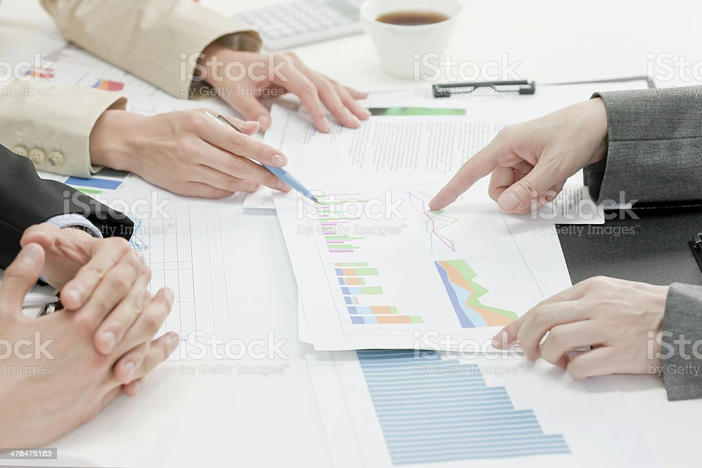 Businesswomans holding a meeting stock photo