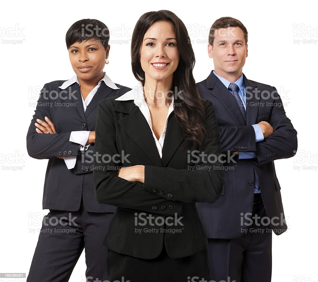 Businesswomen and Businessman Team Isolated on White Background royalty-free stock photo