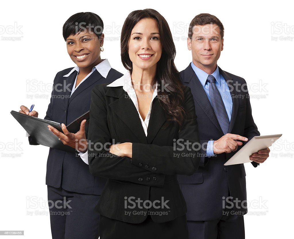Businesswomen and Businessman Team Isolated on White Background stock photo