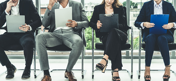 587228412 istock photo Businesswomen and businessmen wait for interview. 1131293438