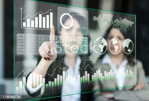 850852928 istock photo Businesswomen discussing financial dashboard on Projection Screen 1135380732