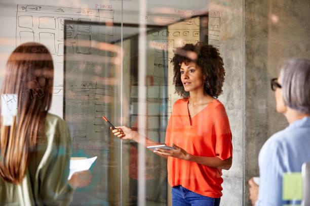 Geschäftsfrauen diskutieren Plan an Glaswand – Foto