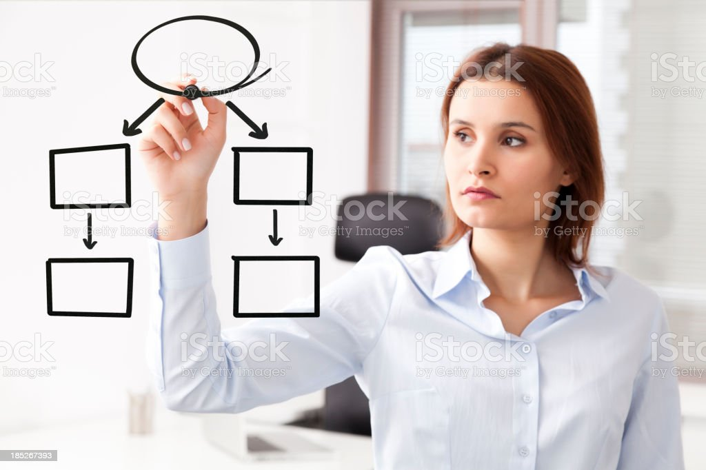 Businesswomen drawing empty chart stock photo