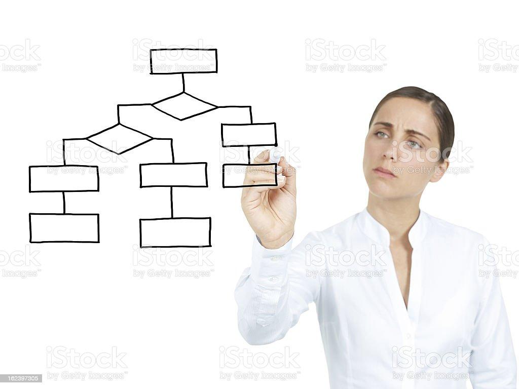 Businesswomen Drawing empty organization chart royalty-free stock photo