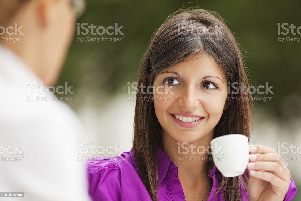 businesswomen drinking coffee royalty-free stock photo