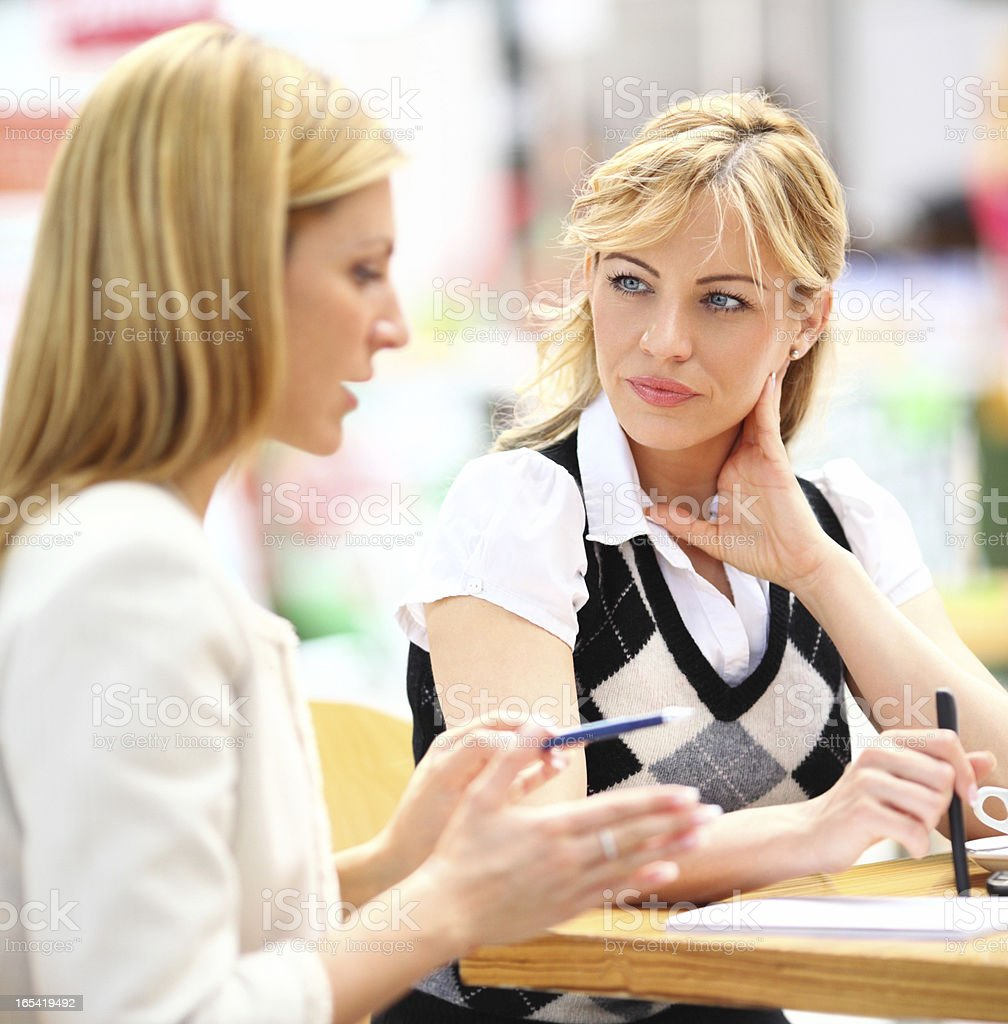 Businesswomen having a discussion. royalty-free stock photo