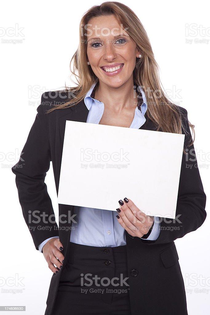 Businesswomen showing blank placard. royalty-free stock photo