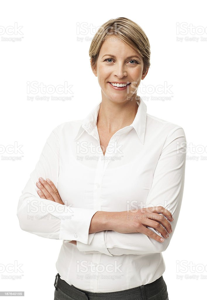 Businesswomen smiling and crossing her arms stock photo