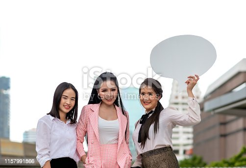 istock Businesswomen standing in the city. Business Concept 1157991866