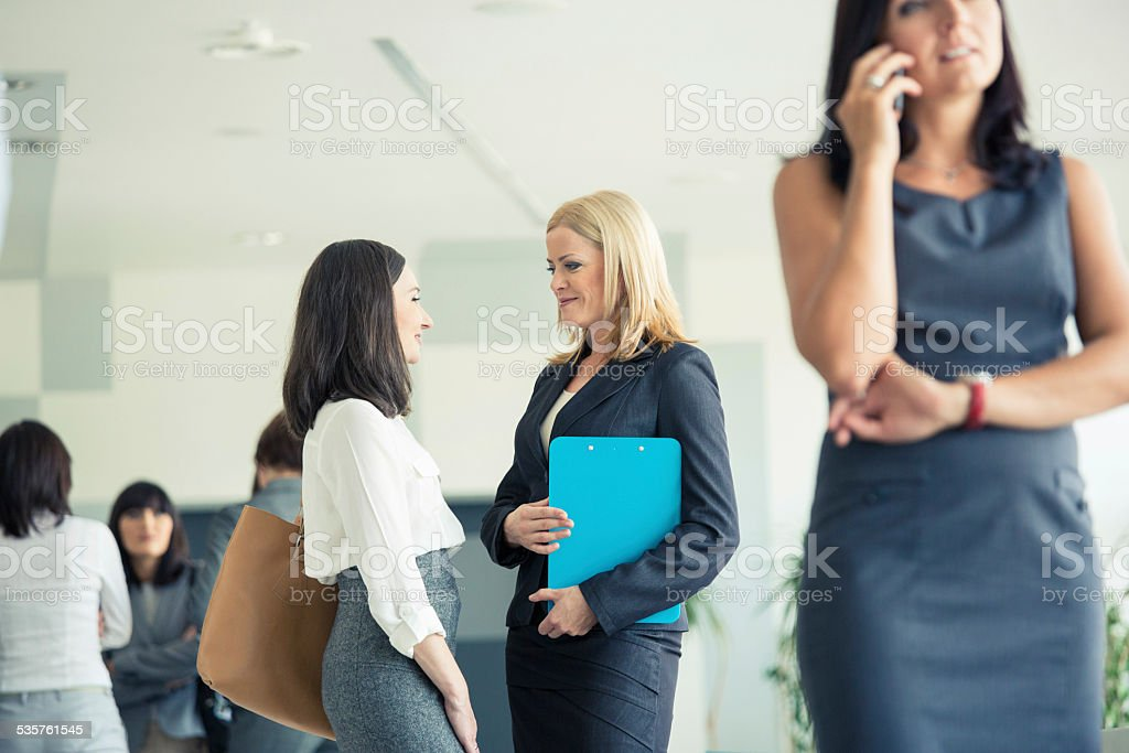 Businesswomen talking together in an office Focus on two businesswomen talking togther in an office with defocused people in the background and foreground. 2015 Stock Photo