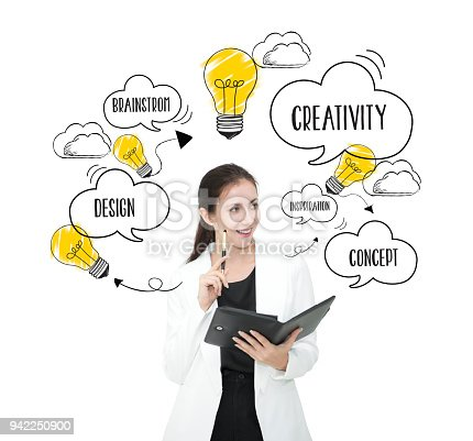 istock businesswomen thinking with lightbulb. concept for new ideas with innovation and creativity. 942250900