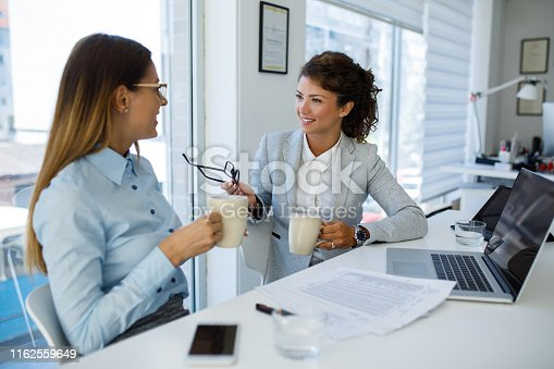 istock Businesswomen with laptop cooperating at work 1162559649