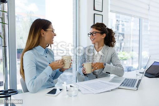 istock Businesswomen with laptop cooperating at work 1164856544