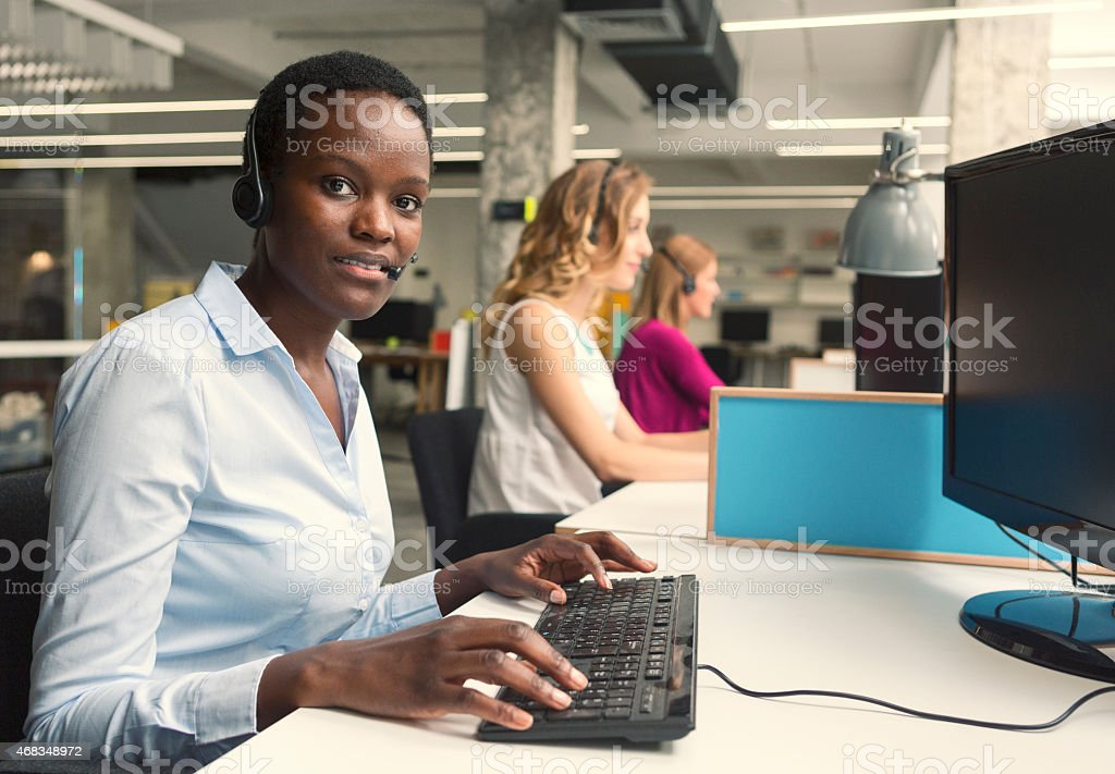 Businesswomen working at call center. royalty-free stock photo