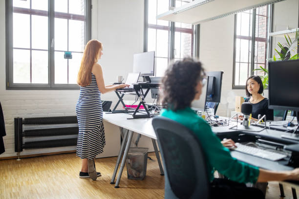 Businesswomen working at modern office space stock photo