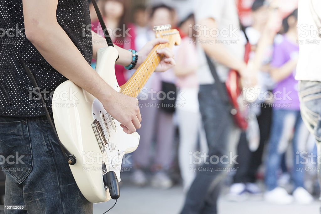 busking band stock photo