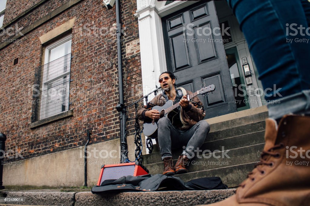 Busking In The City stock photo
