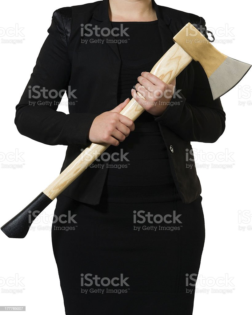 busninesswoman carrying an axe to do the chopping stock photo