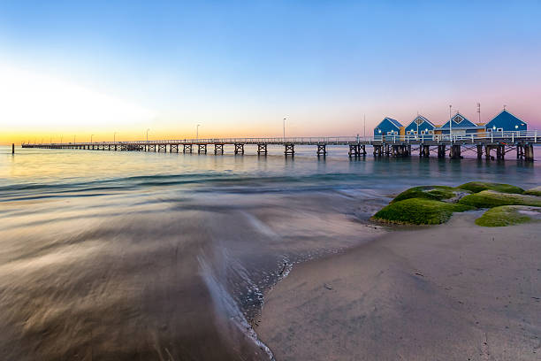 busselton jetty at sunset - western australia stock pictures, royalty-free photos & images
