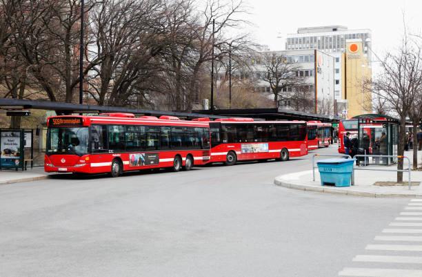 Busses att stop stock photo
