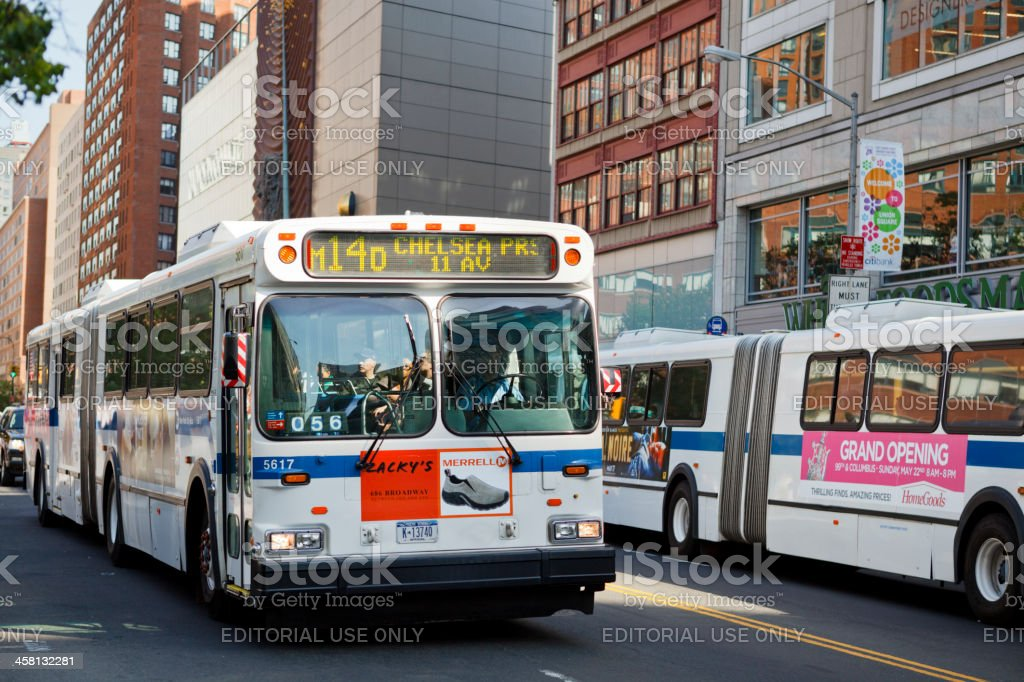 Busses on 14th Street New York City stock photo