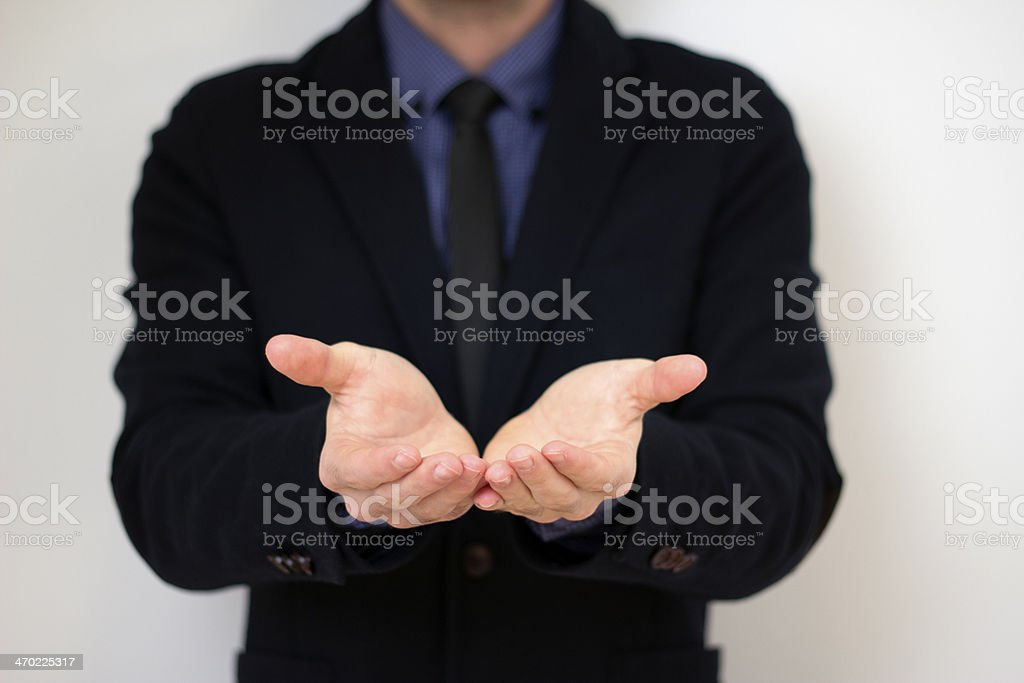 Bussines man empty hands stock photo