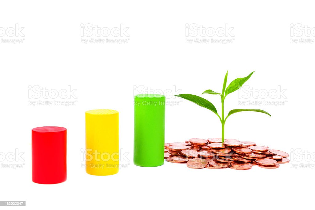 bussiness concept:growing plant in coin isolated on white background stock photo