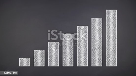 istock bussiness growth:Financial chart on chalkboard 1128657361