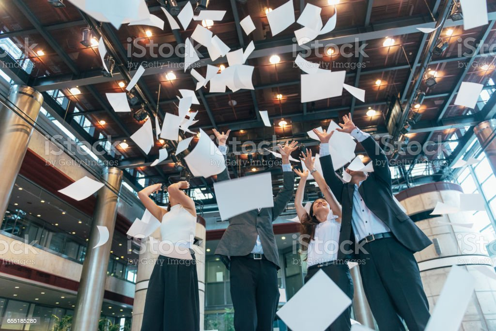 Bussiness in Japan - office celebration after successful business deal stock photo
