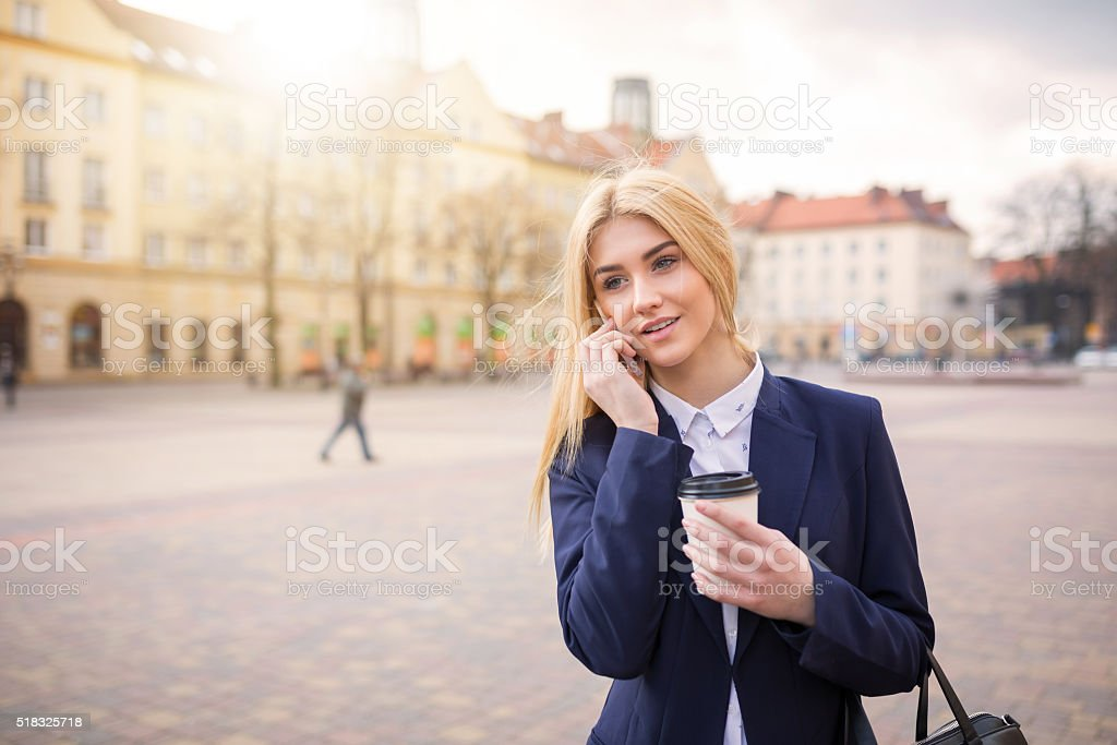 Bussineswoman talking on the phone stock photo