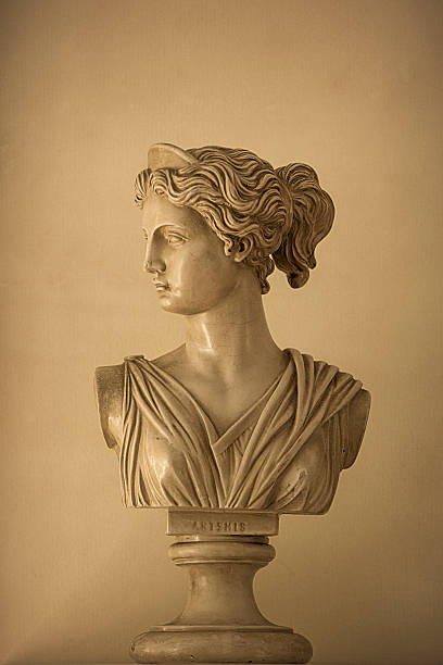 Bust of Artemis Reproduction of a classical bust of the goddess Artemis (aka Diana) artemis stock pictures, royalty-free photos & images