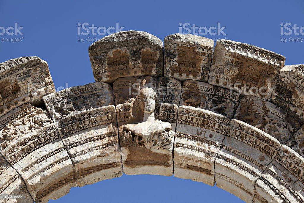 Bust of Hadrian's Arch, Ephesus, Izmir, Turkey stock photo