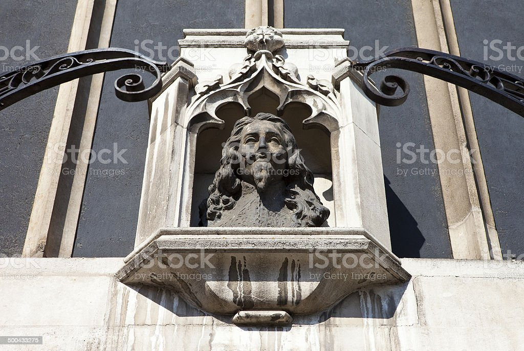 Bust of King Charles 1st in London stock photo