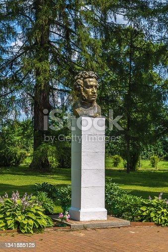 istock Bust of Pushkin, Bernovo, Russia 1341885125
