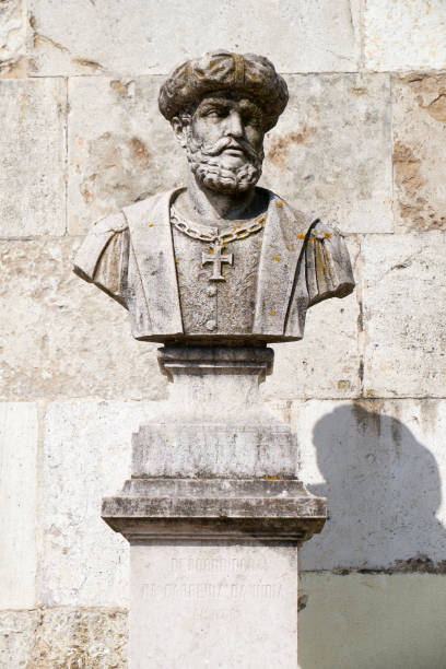 Büste von Vasco da Gama in San Pedro de Alcantara Garden. Lissabon. Portugal. – Foto