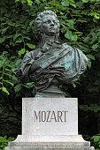 Bust of Wolfgang Amadeus Mozart on Kapuzinerberg hill in Salzburg, Austria. The bust by the Austrian sculptor Edmund von Hellmer was erected on April 8, 1881.