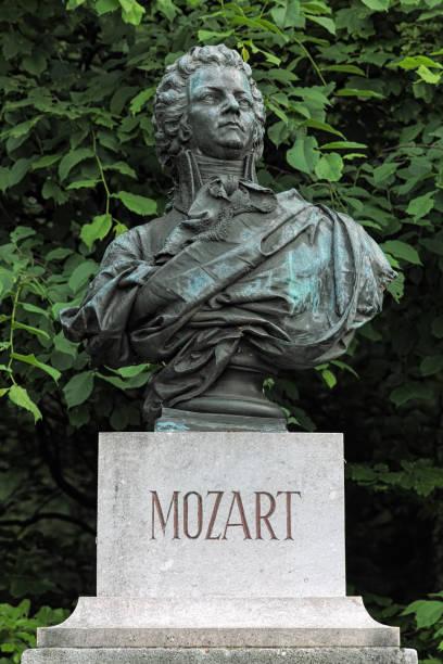 Bust of Wolfgang Amadeus Mozart in Salzburg, Austria stock photo