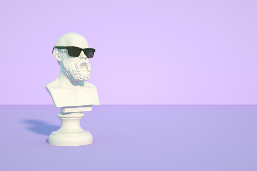 3d rendering of Bust Sculpture with Sunglasses