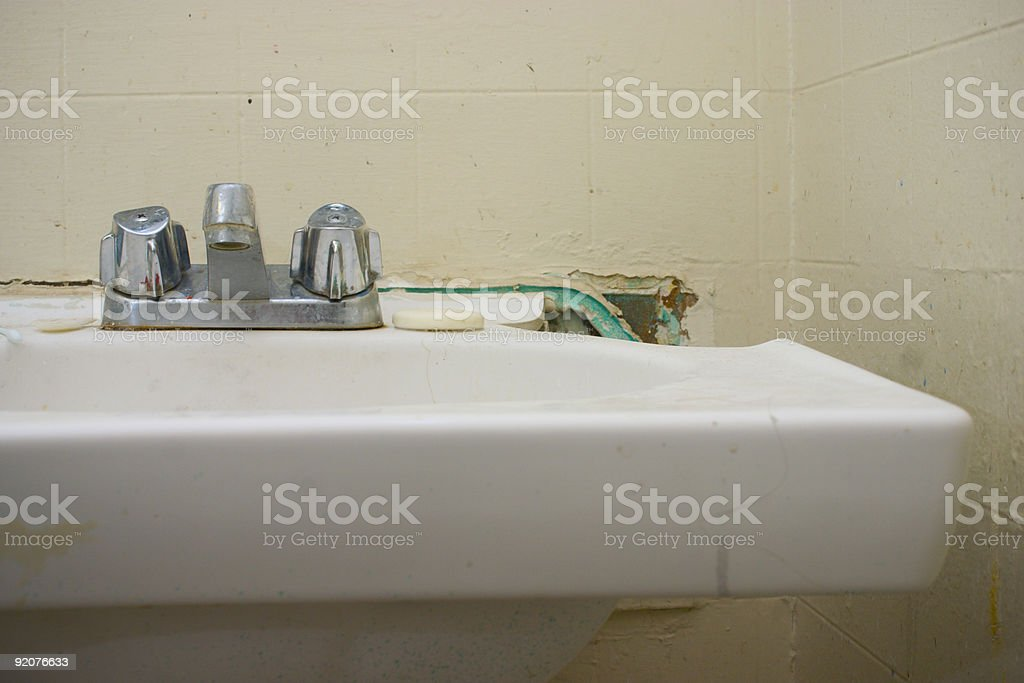 Busted sink stock photo