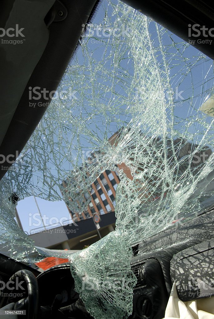 Busted Windshield stock photo