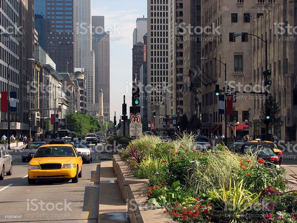 Bustling Chicago Michigan Avenue royalty-free stock photo