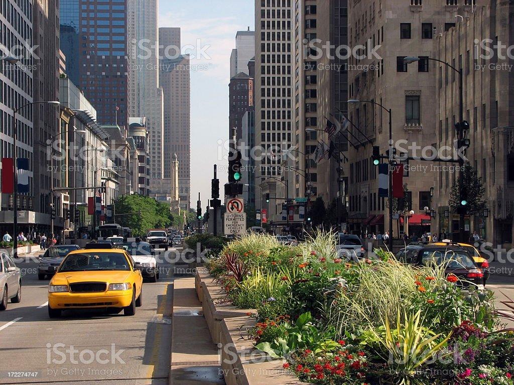 Bustling Chicago Michigan Avenue stock photo
