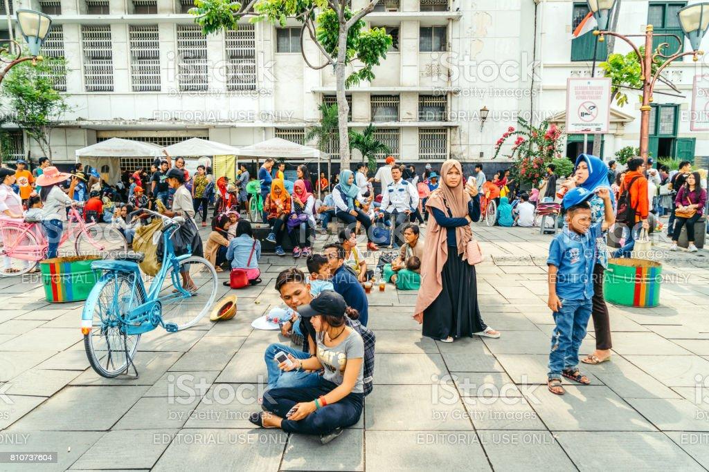 Bustling Fatahilah Square in Jakarta, Indonesia stock photo