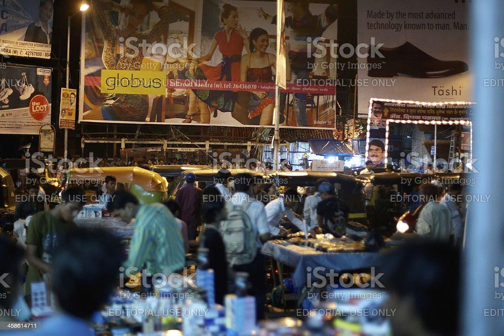 Bustling night time market at Bandra West, Mumbai, India royalty-free stock photo