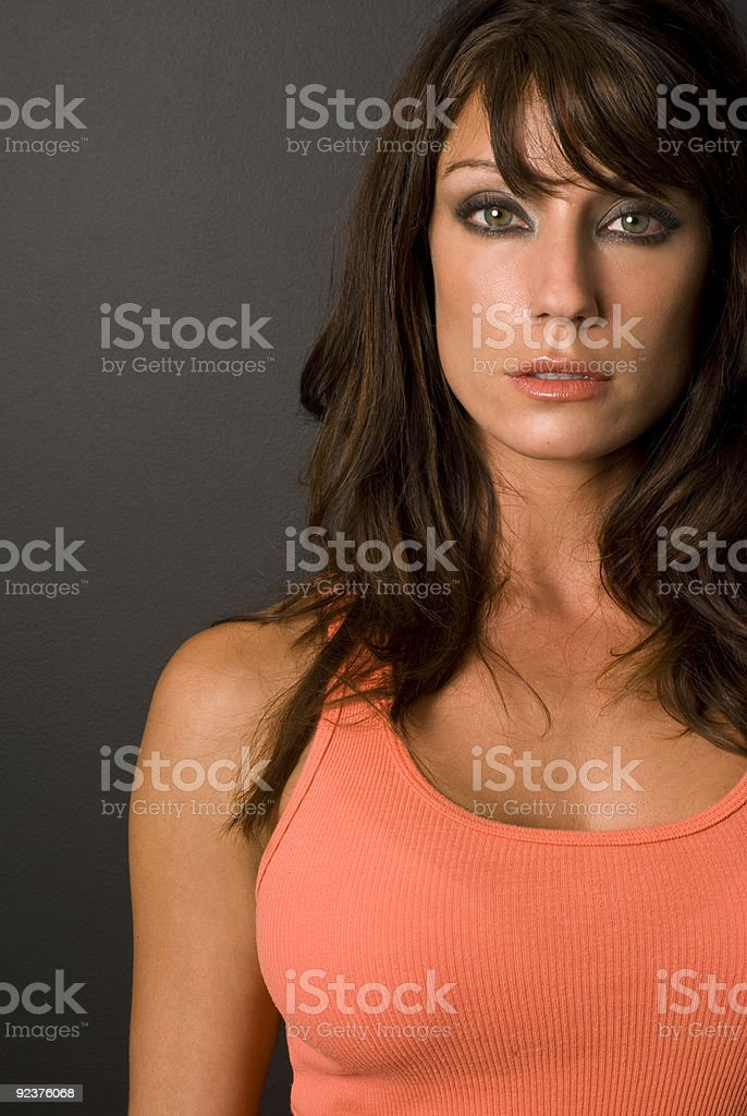 Busty Female Headshot With Copyspace royalty-free stock photo