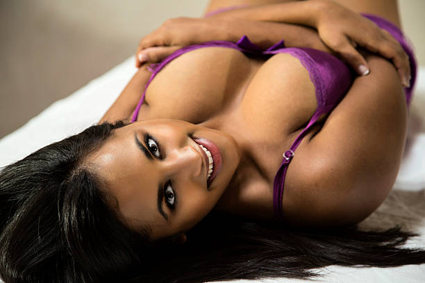 Busty Young Indian Woman in Lingerie stock photo