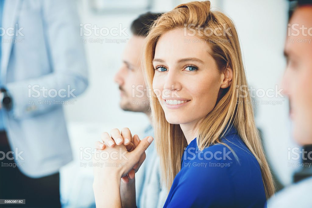 Buswinesswoman in a meeting. stock photo